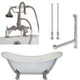 "Cambridge Plumbing Cast Iron Double Ended Slipper Tub 71"" X 30"" with 7"" Deck Mount Faucet Drillings and English Telephone Style Faucet Complete Polished Chrome Plumbing Package"