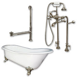 "Cambridge Plumbing Cast Iron Slipper Clawfoot Tub 67"" X 30"" with No Faucet Drillings and Complete Free Standing British Telephone Faucet and Hand Held Shower  Brushed Nickel Package"