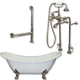 "Cambridge Plumbing Cast Iron Double Ended Slipper Tub 71"" X 30""with No Faucet Drillings and Complete Free Standing British Telephone Faucet and Hand Held Shower  Brushed Nickel Plumbing Package"