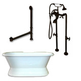 "Cambridge Plumbing Cast Iron Double Ended Slipper Tub 71"" X 30"" with No Faucet Drillings and Complete Free Standing British Telephone Faucet and Hand Held Shower  Oil Rubbed Bronze Plumbing Package"