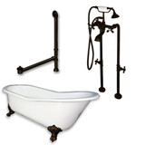 "Cambridge Plumbing Cast Iron Slipper Clawfoot Tub 67"" X 30""with No Faucet Drillings and Complete Free Standing British Telephone Faucet and Hand Held Shower  Oil Rubbed Bronze Package"