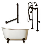 "Cambridge Plumbing Cast Iron Swedish Slipper Tub 58"" X 30"" with No Faucet Drillings and complete Oil Rubbed Bronze Plumbing Package (faucet not pictured)"