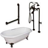 "Cambridge Plumbing Cast Iron Double Ended Clawfoot Tub 60"" X 30"" with No Faucet Drillings and Complete Free Standing British Telephone Faucet and Hand Held Shower Oil Rubbed Bronze Plumbing Package"