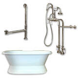 "Cambridge Plumbing Cast Iron Double Ended Slipper Tub 71"" X 30"" with no Faucet Drillings and Complete Brushed Nickel Free Standing English Telephone Style Faucet with Hand Held Shower Assembly Plumbing Package"