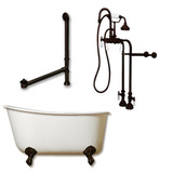 "Cambridge Plumbing Cast Iron Swedish Slipper Tub 58"" X 30"" with no Faucet Drillings and Complete Oil Rubbed Bronze Free Standing English Telephone Style Faucet with Hand Held Shower Assembly Plumbing Package"