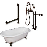 "Cambridge Plumbing Cast Iron Double Ended Clawfoot Tub 60"" X 30"" with no Faucet Drillings and Complete Oil Rubbed Bronze Free Standing English Telephone Style Faucet with Hand Held Shower Assembly Plumbing Package"