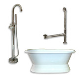 "Cambridge Plumbing Cast Iron Double Ended Slipper Tub 71"" X 30"" with no Faucet Drillings and Complete Brushed Nickel Modern Freestanding Tub Filler with Hand Held Shower Assembly Plumbing Package"