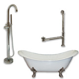 "Cambridge Plumbing Cast Iron Double Ended Slipper Tub 71"" X 30""with no Faucet Drillings and Complete Brushed Nickel Modern Freestanding Tub Filler with Hand Held Shower Assembly Plumbing Package"