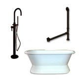 "Cambridge Plumbing Cast Iron Double Ended Slipper Tub 71"" X 30"" with no Faucet Drillings and Complete Oil Rubbed Bronze Modern Freestanding Tub Filler with Hand Held Shower Assembly Plumbing Package"