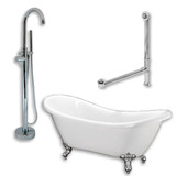 "Acrylic Double Ended Clawfoot Bathtub 68"" X 30"" with no Faucet Drillings and Complete Polished Chromel Plumbing Package"
