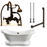 "Acrylic Double Ended  Pedestal Slipper Bathtub 68"" X 28"" with 7"" Deck Mount Faucet Drillings and Complete Oil Rubbed Bronze Plumbing Package"