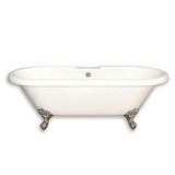 "Cambridge Plumbing ADE-NH-BN Acrylic Double Ended Clawfoot Bathtub 70"" X 30"" with No Faucet Drillings and Brushed Nickel Feet"