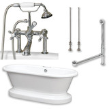"Acrylic Double Ended Pedestal Bathtub 70"" X 30"" with 7 inch Faucet Drillings and Complete Polished Chrome Plumbing Package"