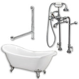 "Acrylic Double Ended Slipper Bathtub 68"" X 28"" with no Faucet Drillings and Complete Polished Chrome Plumbing Package"