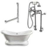 "Acrylic Double Ended  Pedestal Slipper Bathtub 68"" X 28"" with No Faucet Drillings and Complete Chrome Plumbing Package"