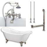 "Acrylic Double Ended Clawfoot Bathtub 68"" X 30"" with no Faucet Drillings and Complete Brushed Nickel Plumbing Package"
