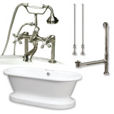 "Acrylic Double Ended Pedestal Bathtub 70"" X 30"" with 7 inch Deck Mount Faucet Drillings and Complete Brushed Nickel Plumbing Package"
