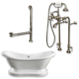 "Acrylic Double Ended  Pedestal Slipper Bathtub 68"" X 28"" with No Faucet Drillings and Complete Brushed Nickel Plumbing Package"
