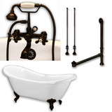 "Acrylic Double Ended Clawfoot Bathtub 68"" X 30"" with no Faucet Drillings and Complete Oil Rubbed Bronze Plumbing Package"