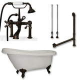"Acrylic  Slipper Bathtub 67"" X 30"" with  7"" Deck Mount Faucet Drillings and Complete Oil Rubbed Bronze Plumbing Package"