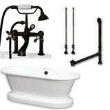 "Acrylic Double Ended Pedestal Bathtub 70"" X 30"" with 7 inch Deck Mount Faucet Drillings and Oil Rubbed Bronze Chrome Plumbing Package"