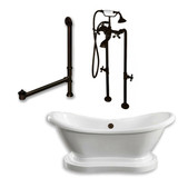 "Acrylic Double Ended  Pedestal Slipper Bathtub 68"" X 28"" with No Faucet Drillings and Complete Oil Rubbed Bronze Plumbing Package"