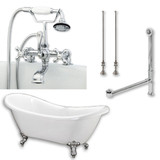 """Acrylic Double Ended Slipper Bathtub 68"""" X 28"""" with 7"""" Deck Mount Faucet Drillings and Complete Polished Chrome Plumbing Package"""