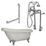 """Acrylic  Slipper Bathtub 61"""" X 30"""" with  No Faucet Drillings and Complete Polished Chrome Plumbing Package"""