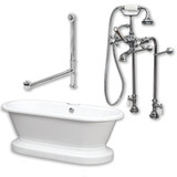 """Acrylic Double Ended Pedestal Bathtub 70"""" X 30"""" with no Faucet Drillings and Complete Polished Chrome Plumbing Package"""