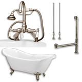 """Acrylic Double Ended Clawfoot Bathtub 68"""" X 30"""" with no Faucet Drillings and Complete Brushed Nickel Plumbing Package"""