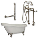 """Acrylic  Slipper Bathtub 61"""" X 30"""" with No Faucet Drillings and Complete Brushed Nickel Plumbing Package"""