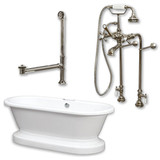 "Acrylic Double Ended Pedestal Bathtub 70"" X 30"" with no Faucet Drillings and Complete Brushed Nickel Plumbing Package"