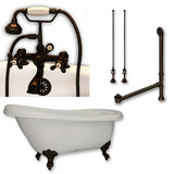 """Acrylic  Slipper Bathtub 61"""" X 30"""" with 7"""" Deck Mount Faucet Drillings and Complete Brushed Nickel Plumbing Package"""