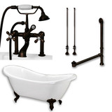 """Acrylic Double Ended Clawfoot Bathtub 68"""" X 30"""" with no Faucet Drillings and Complete Oil Rubbed Bronze Plumbing Package"""