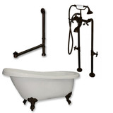 """Acrylic  Slipper Bathtub 67"""" X 30"""" with no Faucet Drillings and Complete Oil Rubbed Bronze Plumbing Package"""