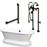"""Acrylic Double Ended Pedestal Bathtub 70"""" X 30"""" with no Faucet Drillings and Complete Oil Rubbed Bronze Plumbing Package"""