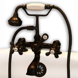Cambridge Plumbing CAM463-2-ORB Clawfoot Tub Deck Mount Brass Faucet with Hand Held Shower-Oil Rubbed Bronze