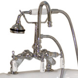 Cambridge Plumbing CAM684D-CP Clawfoot Tub Deck Mount Porcelain Lever English Telephone Brass Faucet with Hand Held Shower-Polished Chrome