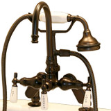 Cambridge Plumbing CAM684D-ORB Clawfoot Tub Deck Mount Porcelain Lever English Telephone Brass Faucet with Hand Held Shower-Oil Rubbed Bronze