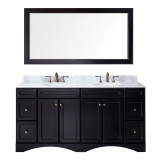 "Virtu USA Talisa 72"" Double Bathroom Vanity Set in Espresso"