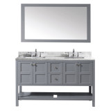 "Virtu USA Winterfell 60"" Double Bathroom Vanity Set in Grey"