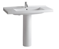 Whitehaus LU040-LU005-1H China Tubular Pedestal Sink with One Hole Faucet (LU040-LU005-1H)
