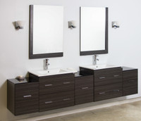 "American Imaginations Xena 89"" Plywood-Melamine Double Sink Vanity Set in Dawn Grey 