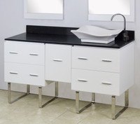 "American Imaginations Xena Quartz 60"" Plywood-Veneer Single Rightside Sink Vanity Set in White 
