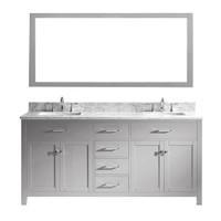 "Virtu USA Caroline 72"" Double Bathroom Vanity in Cashmere Grey w/ Marble Top & Square Sink w/ Mirror"