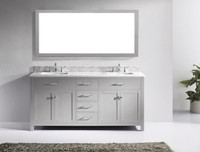 Virtu USA Caroline 72 Double Bathroom Vanity in Cashmere Grey w/ Marble Top & Square Sink w/ Mirror