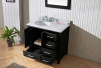 "Virtu USA Caroline Premium 36"" Single Bathroom Vanity Set in Zebra Grey - No Mirror"