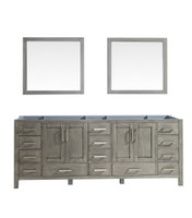 """Lexora Jacques 84"""" Distressed Grey Double Vanity 