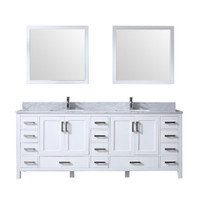 "Lexora Jacques 84"" White Double Vanity Set 