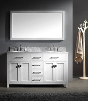 "Virtu USA Caroline Avenue 60"" Double Bathroom Vanity Cabinet Set in White w/ Italian Carrara White Marble Counter-Top, Round Basin"